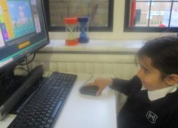 Nursery work on their computer skills